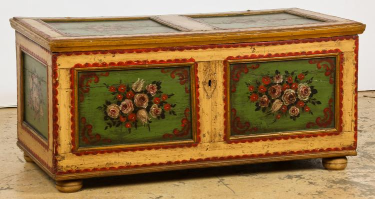 Antique Hand Painted Wedding Chest