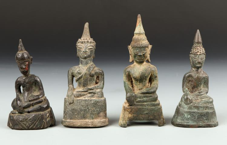 Four Antique Laos Village Buddhas, 18th/19th century