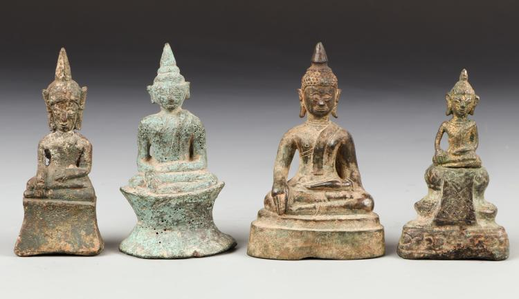 4 Antique Bronze Buddhas (Tribal), 18th/19th Century