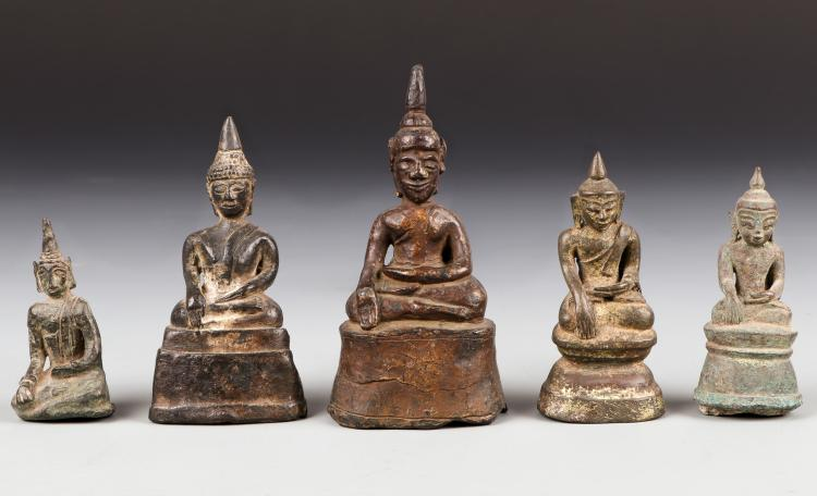 Five Antique Laos/Burmese Bronze Buddha Statues