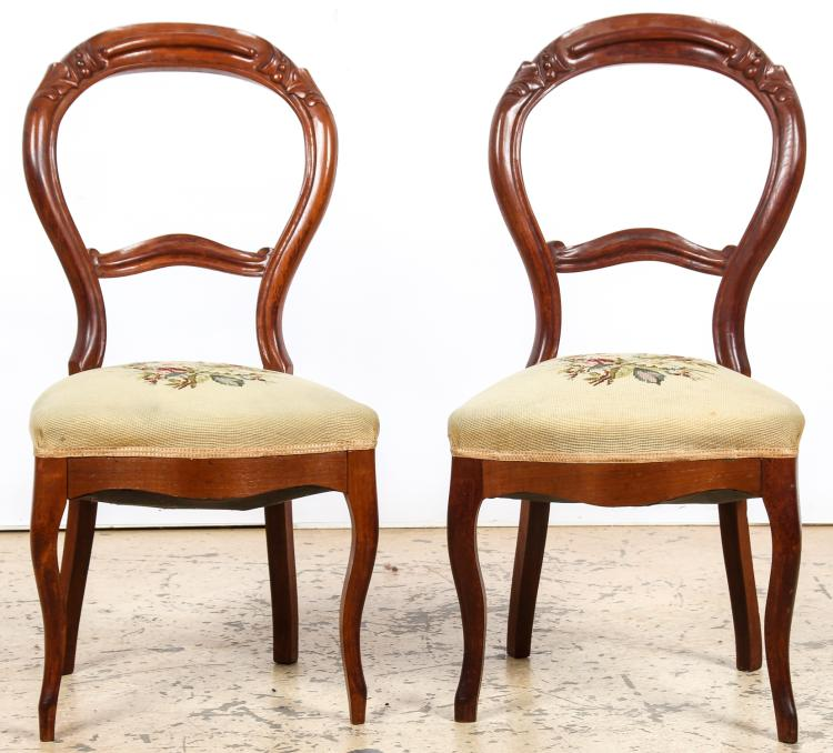 2 Victorian Balloon Back Salon Chairs