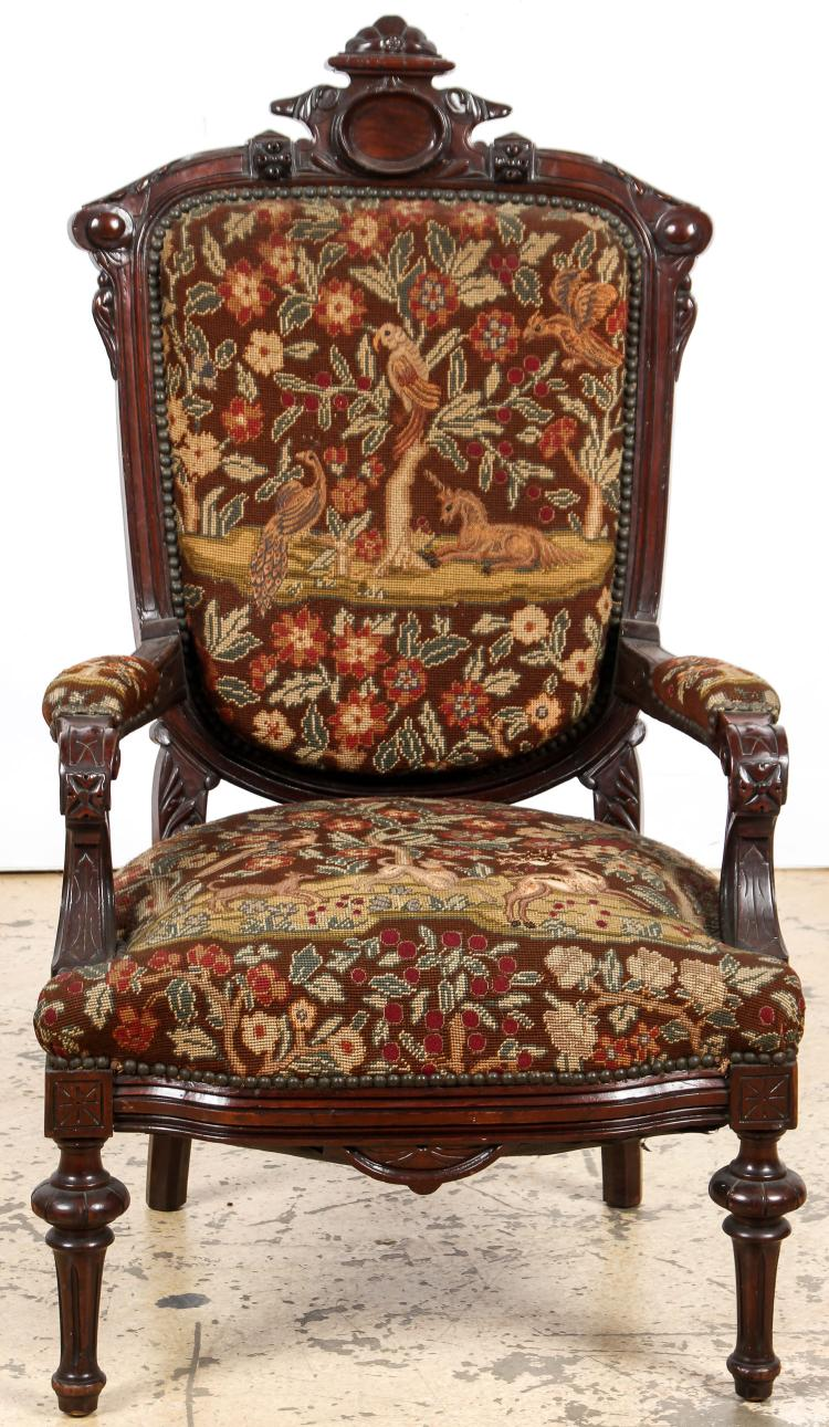 Aesthetic Victorian Needlepoint Throne Chair