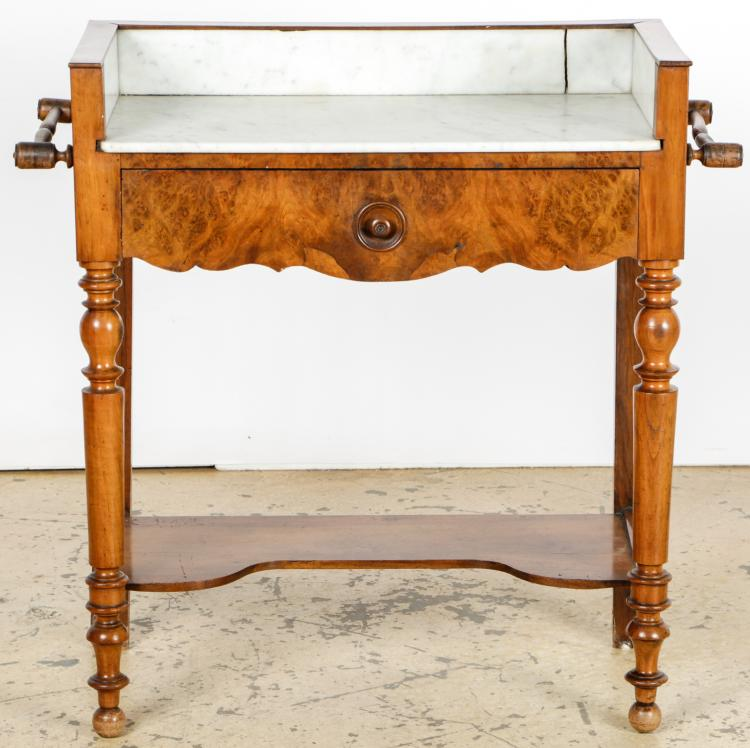 Antique Maple Burl Marble Top Wash Stand