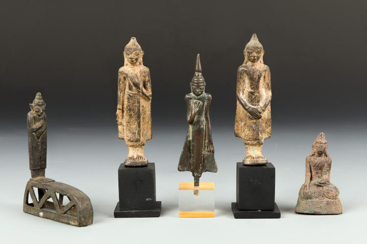 5 Antique Thai and Burmese Buddhas