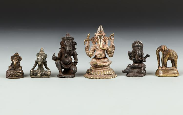 5 Ganesh Statues and 1 Elephant Opium Weight