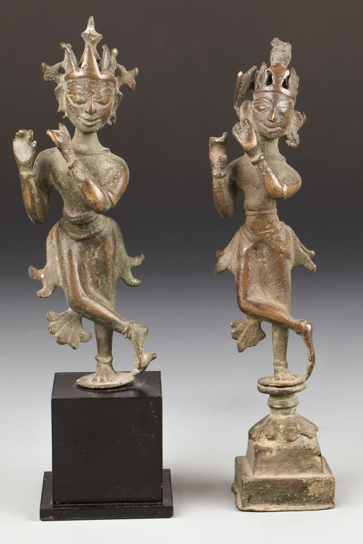 Two Rare 17th C. Indian Bronze Krishna Statues