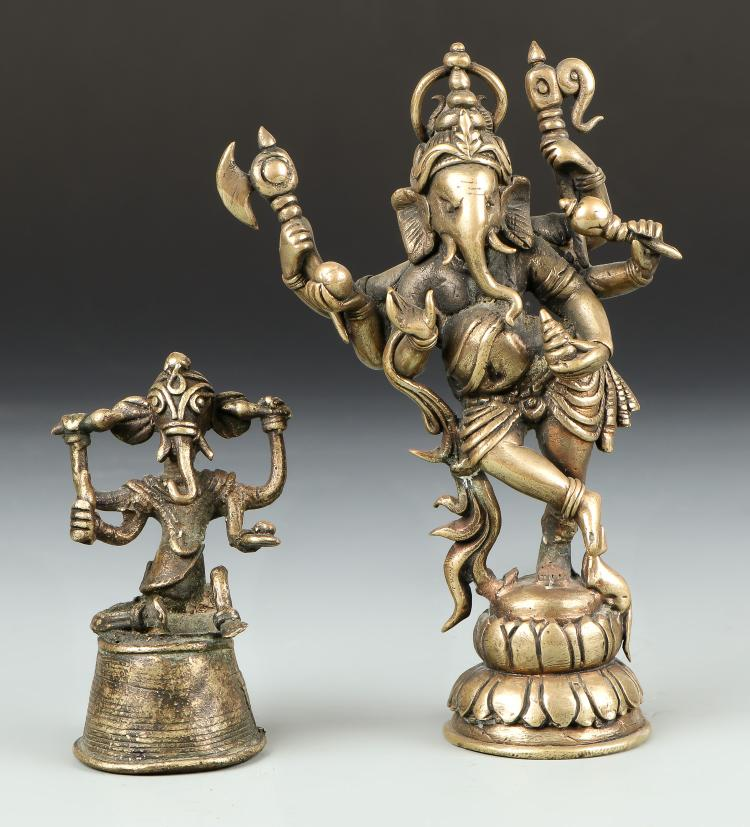 Two Old Bronze Ganesh Statues from Bangladesh