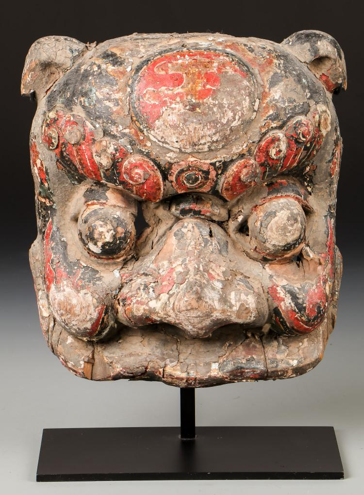 Antique Sino-Tibetan Polychrome Mask