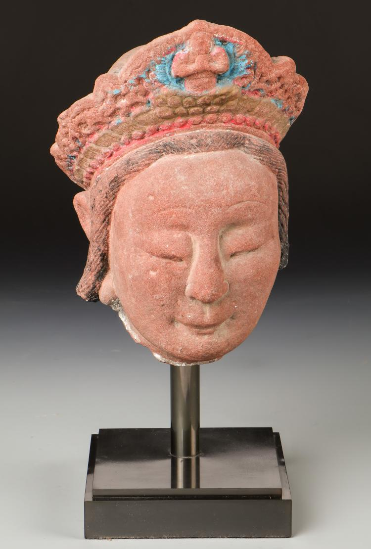 19th c. Chinese Sandstone Kwan Yin Sculpture
