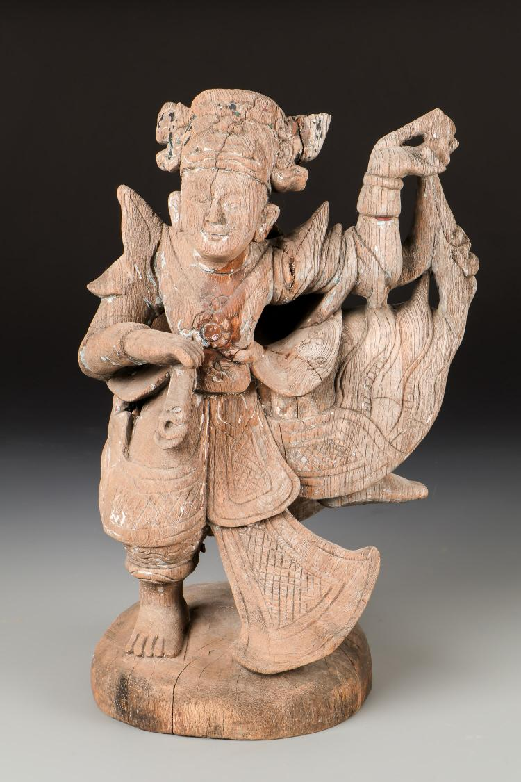 Antique Burmese Dancing Nat Sculpture
