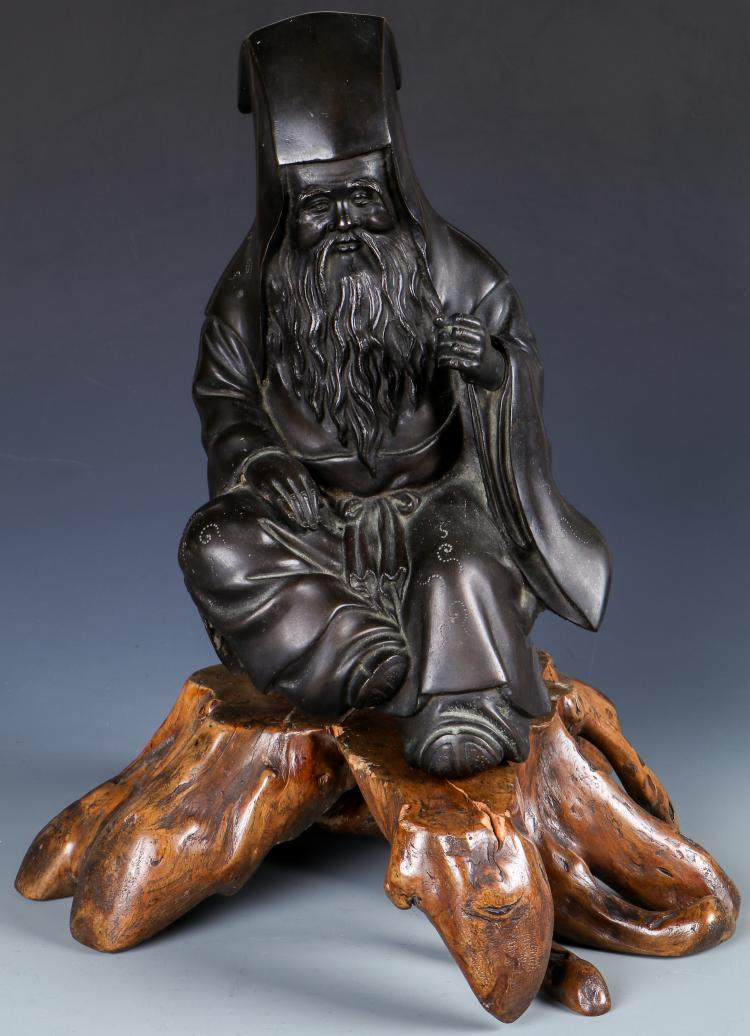 Japanese Figural Shinto Bronze on Rootwood Stand