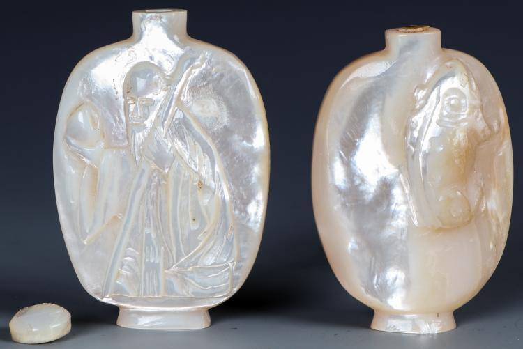 2 Chinese Nacre or Mother of Pearl Snuff Bottles