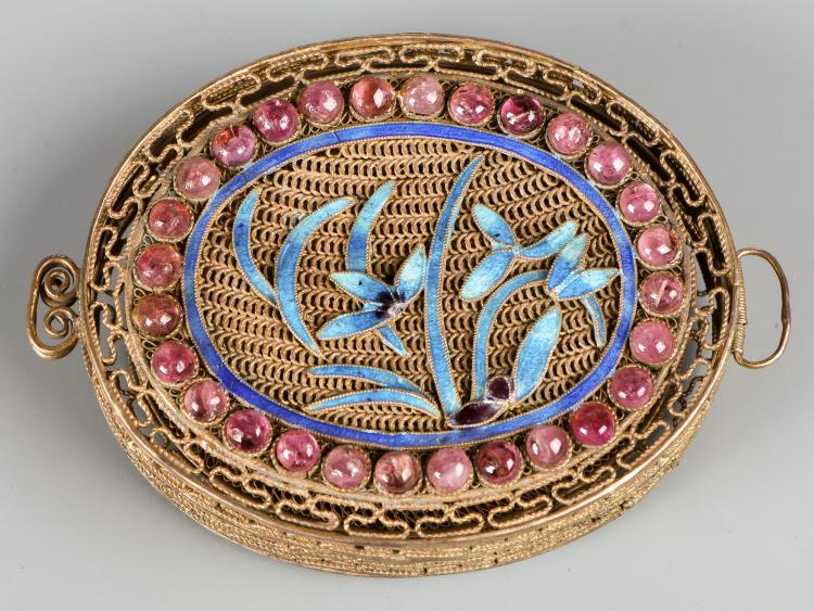 Chinese Gold Gilt Silver Box w. Enamel and Gemstone