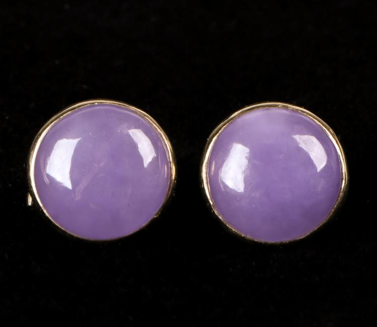 Pair of Gold and Lavender Gem Earrings Marked 14k