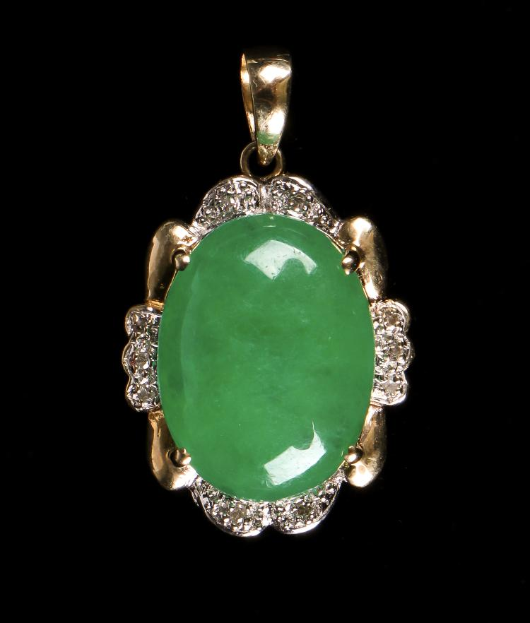 Gold Pendant with Jade or Hardstone