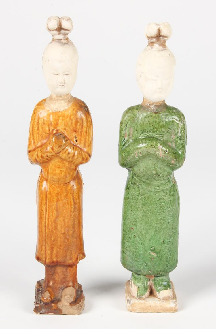 Pair Chinese Tang Dynasty Glazed  Earthenware Figure