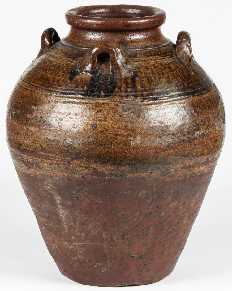 Antique Thai Glazed Earthenware Storage Jar