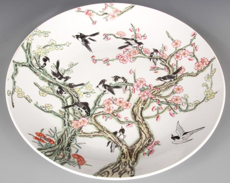 Chinese Blossom and Bird Porcelain Charger