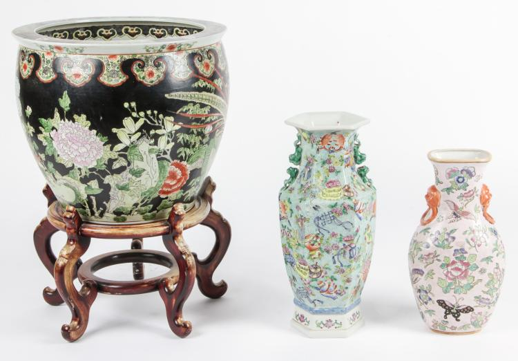 3 Chinese Enameled Porcelain Vessels