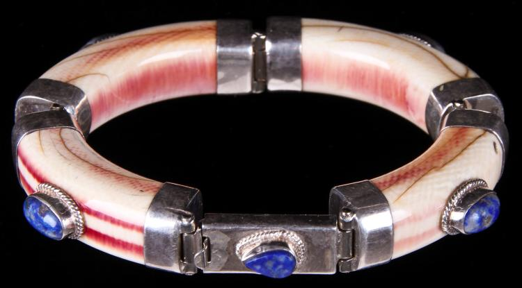 Antique Ivory 4-part Bracelet with Lapis Lazuli