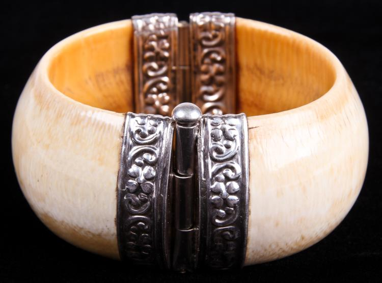 Antique Dowry Ivory & Silver Bracelet