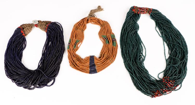 3 Old Naga Beaded Necklaces