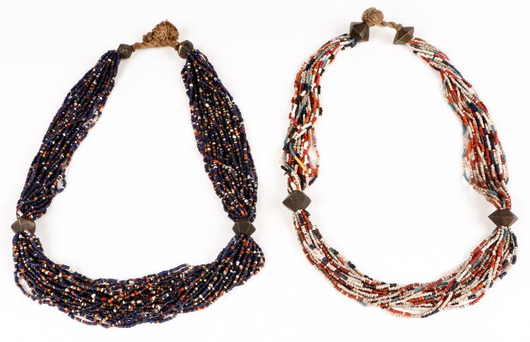 2 Fine Old Naga Multi-Glass Beaded Necklaces