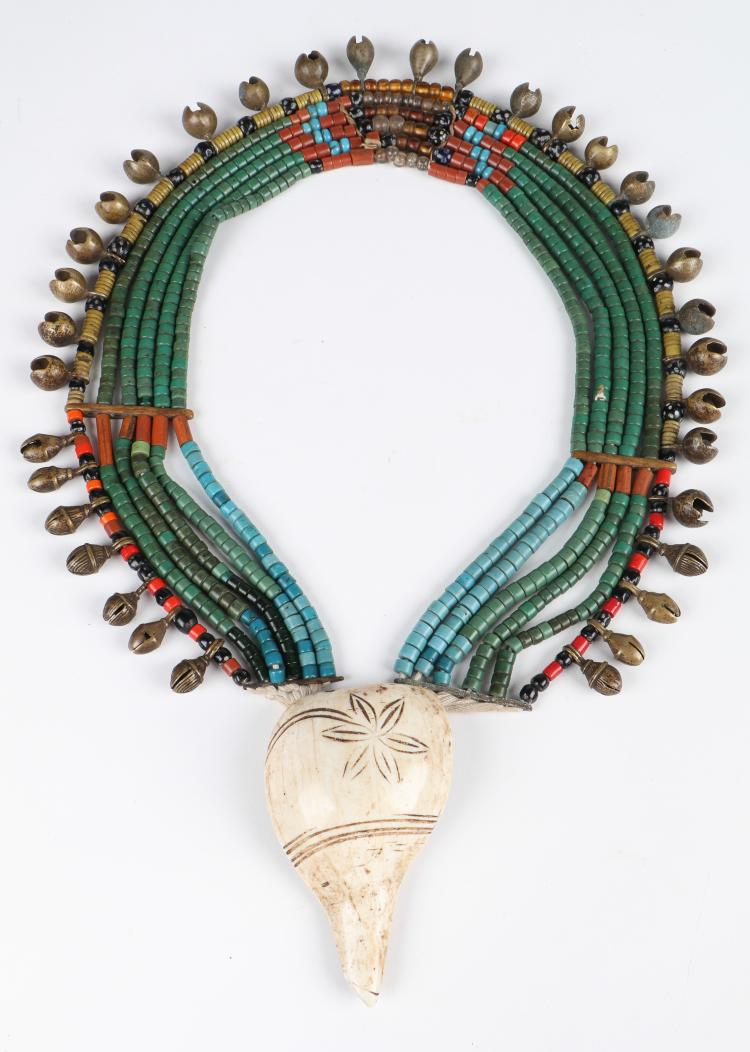 Fine Old Green Naga Glass Beaded Necklace