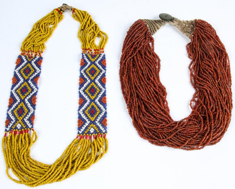 2 Konyak Naga Tribal Bead Necklaces