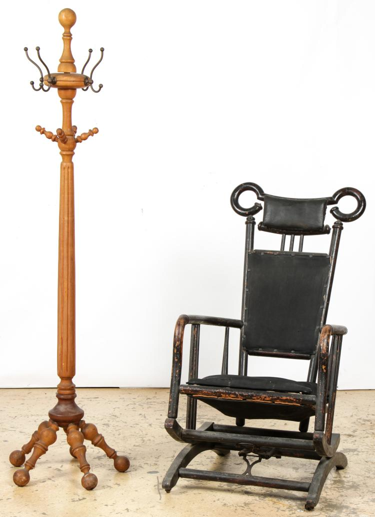 Antique Bentwood Rocker and Spindle Coat Tree