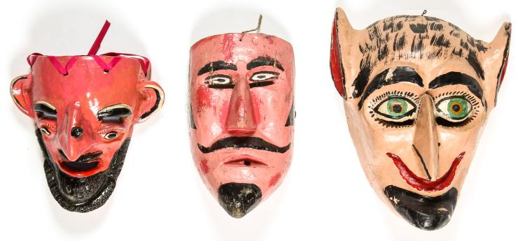 3 Vintage Mexican Male Character Dance Masks