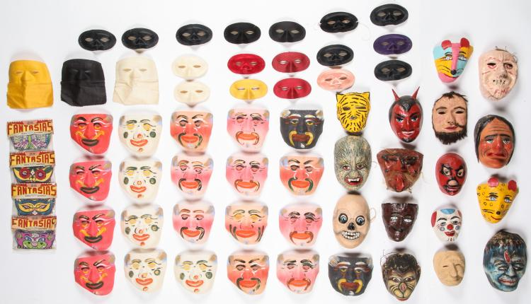 Large Collection of Vintage Ecuadorian, Mexican and Indian Masks