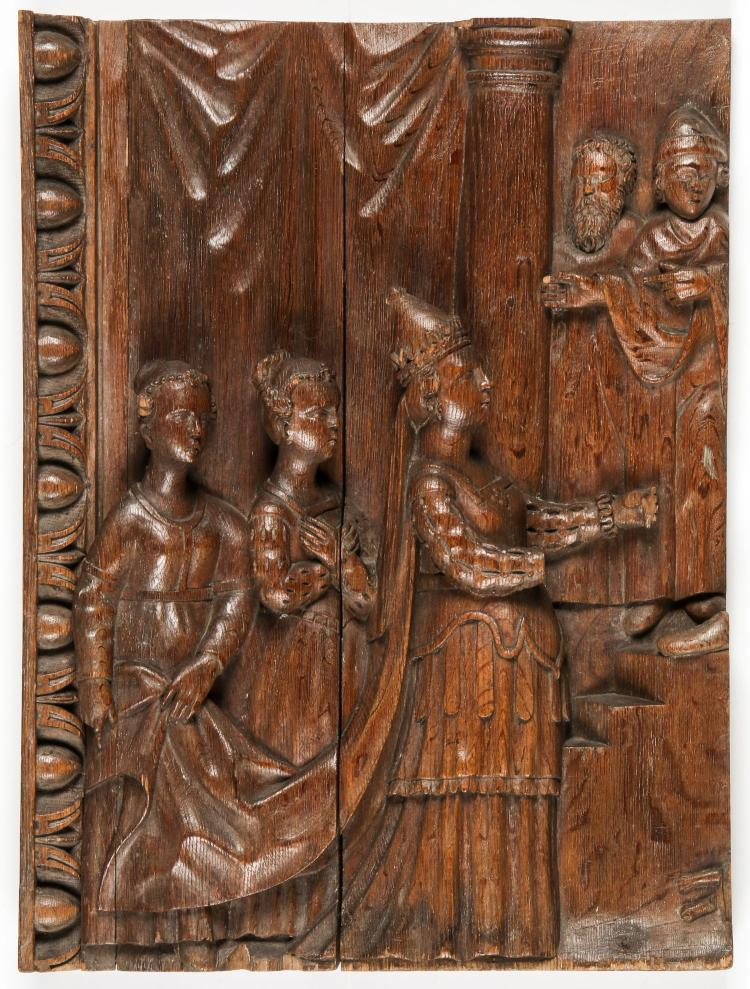 16th C. French Relief Carved Altar Fragment