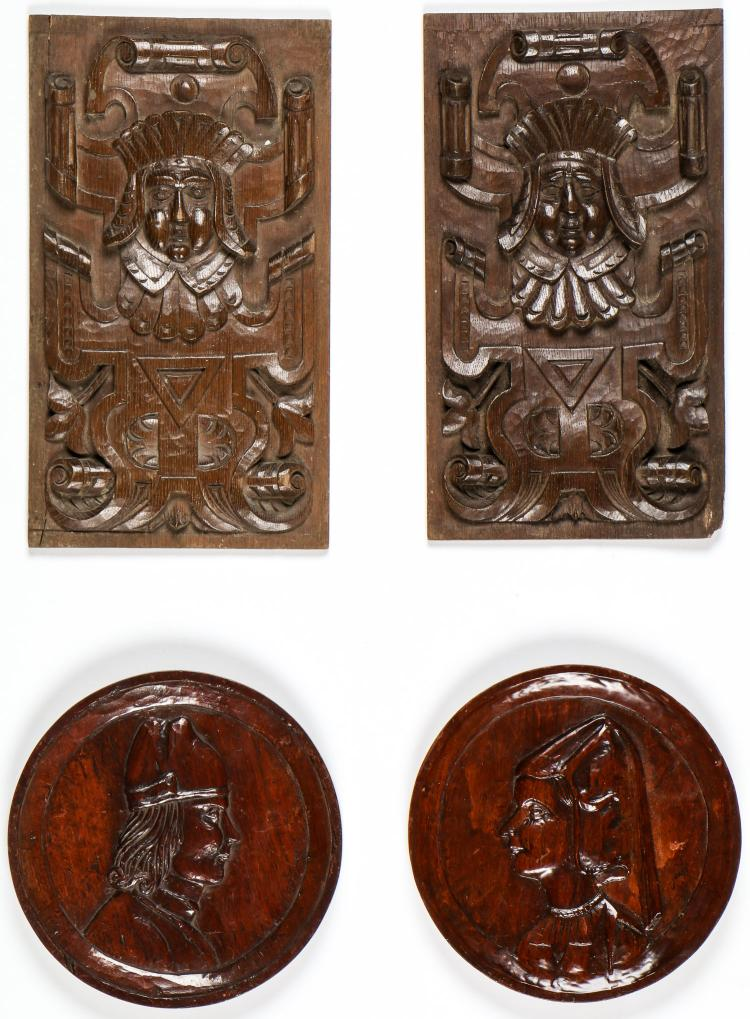 4 Relief Carved Oak Artifacts