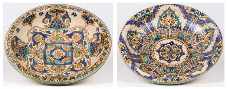 Two Antique Moroccan Polychrome Ceramic Bowls