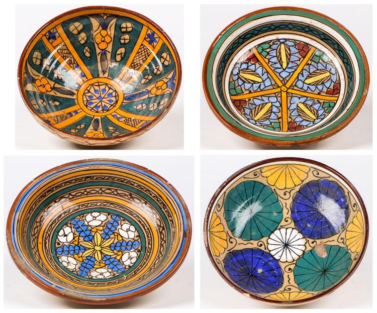 Four Antique Moroccan Polychrome Bowls
