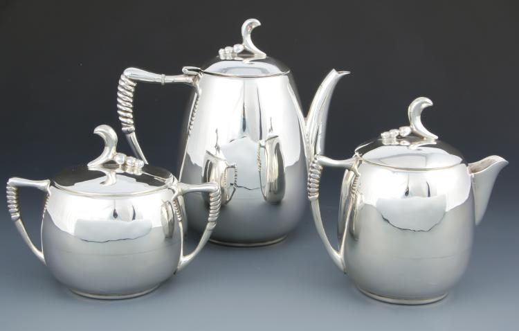 Modernist Mexican Sterling Silver Coffee Service