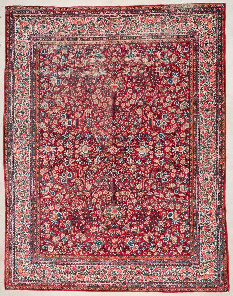 Semi-Antique Kerman Rug: 11'4'' x 8'10'' (345 x 269 cm)