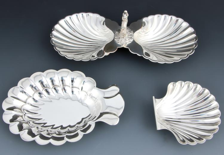3 Shell Form Silver Table Wares
