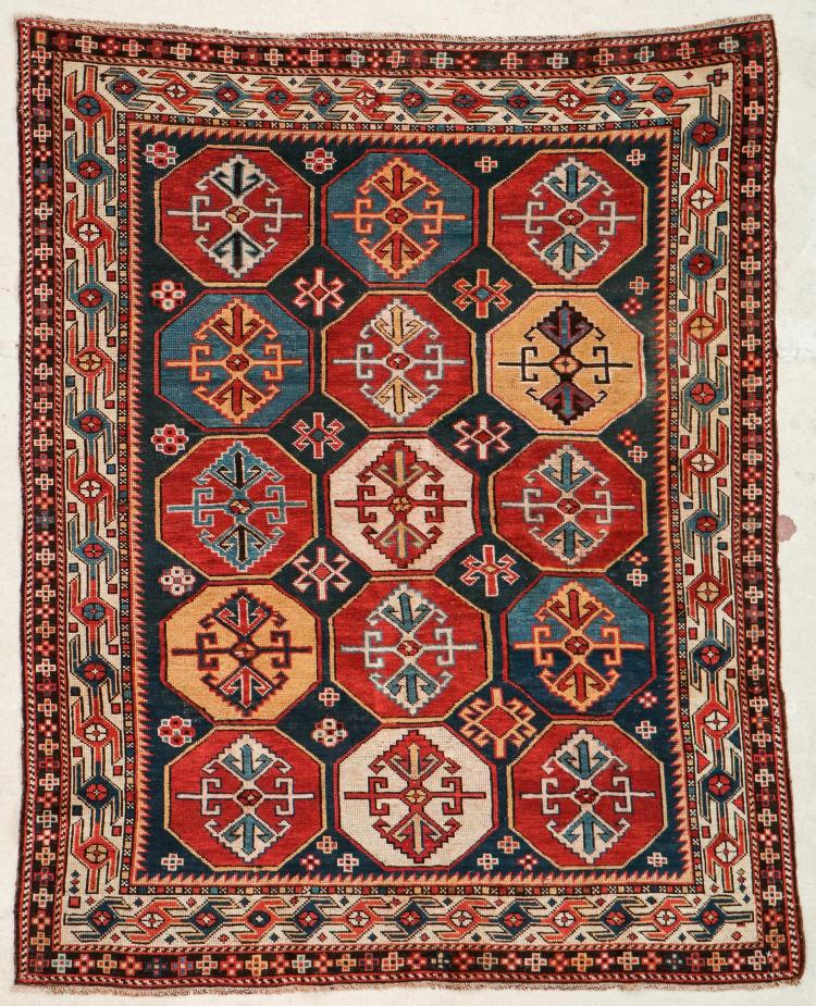 Antique Shirvan Rug: 4' x 4'10
