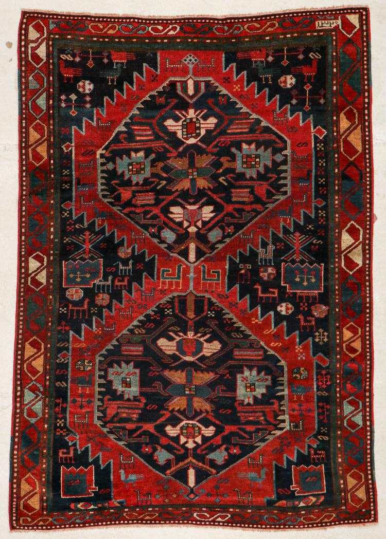 Antique Kazak Rug: 4' x 6' (122 x 183 cm)