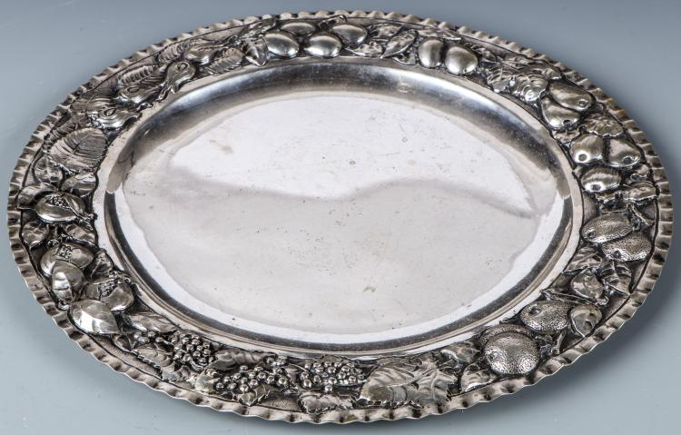 Repousse Rimmed 800 Silver Tray