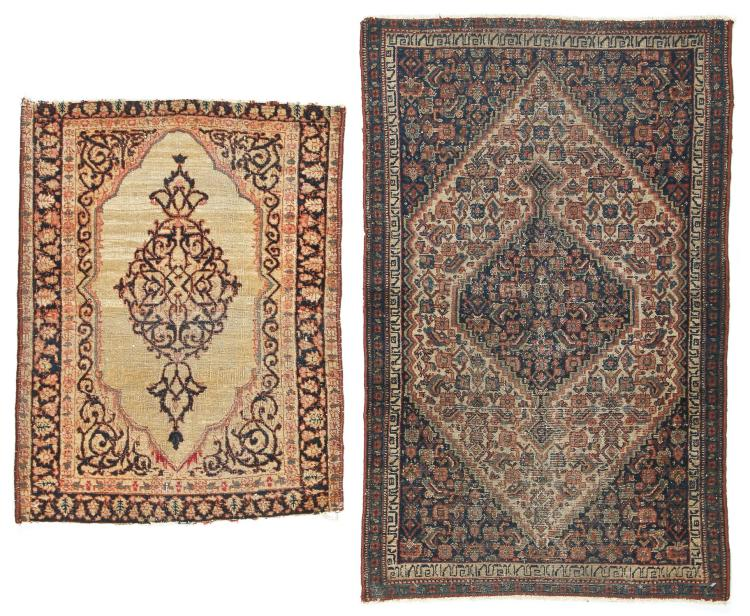 2 Small Antique Lavar and Senneh Rugs