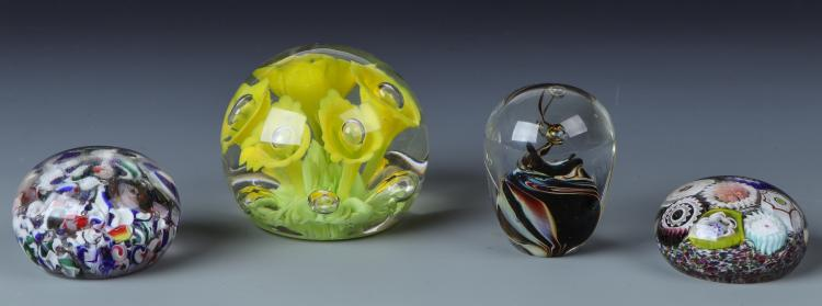 4 Art Glass Paperweights