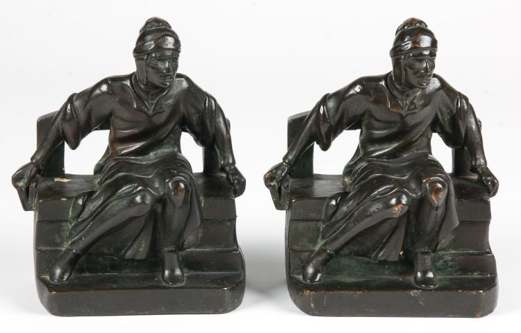 Pair Patinated Figural Florentine Scholar Bookends