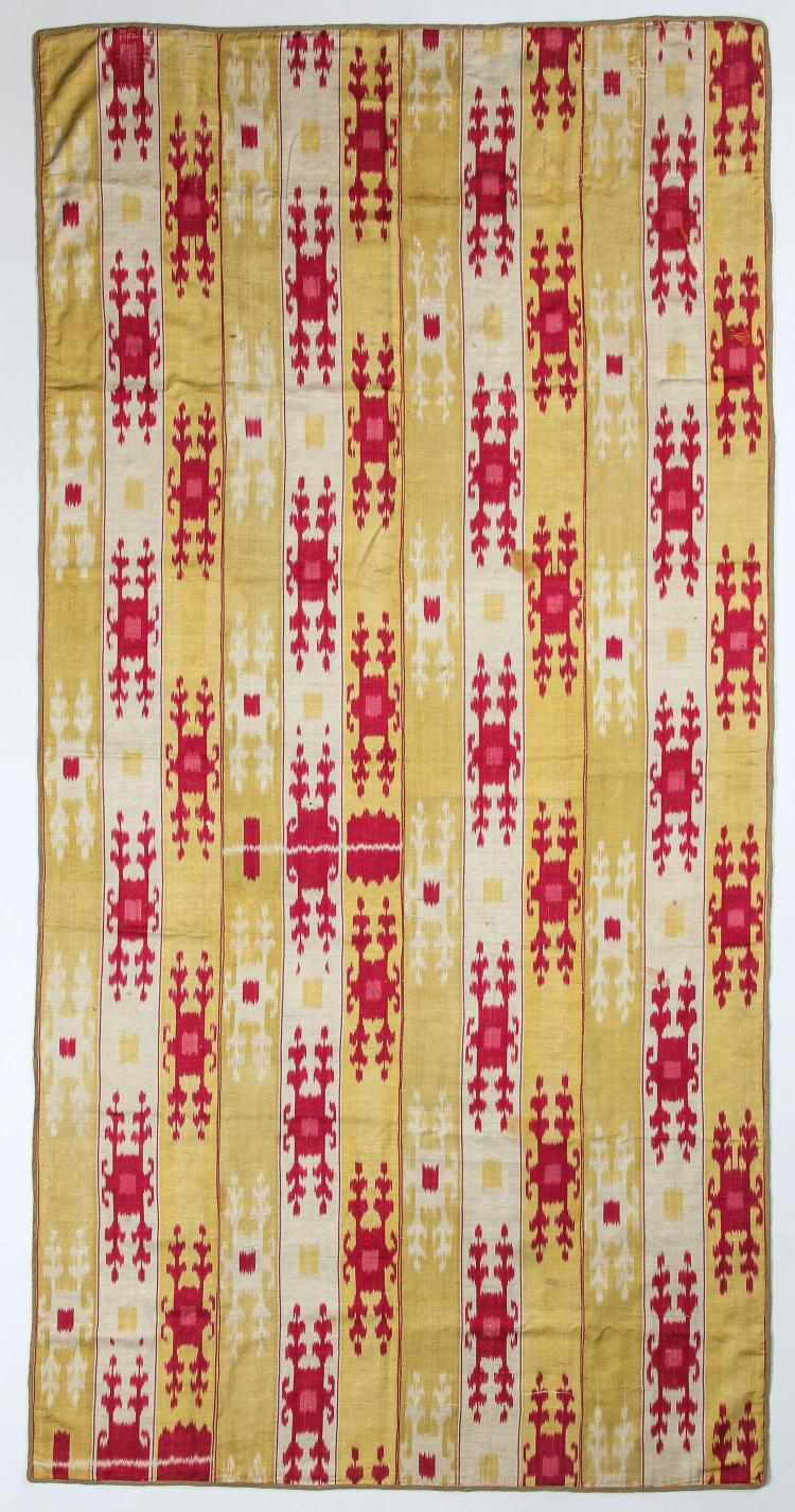 19th C. Central Asian Silk Ikat Panel