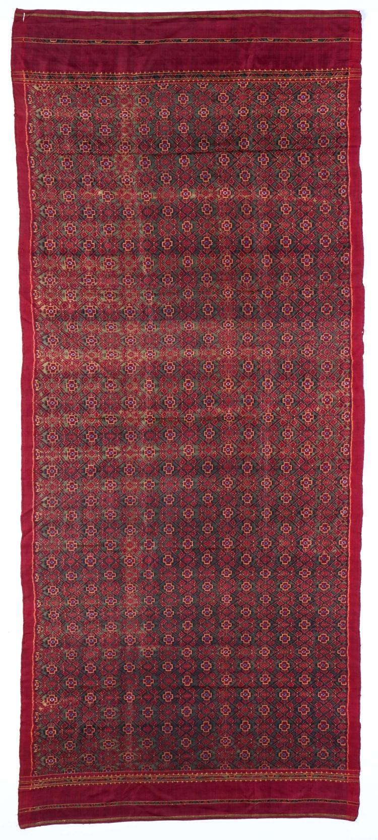 Cambodian Silk Ikat Panel, Early 20th C