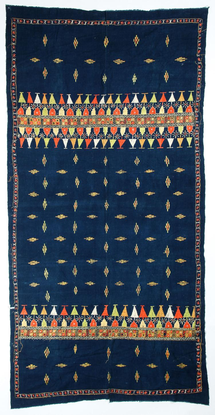 Large Old Embroidered Indian Textile: 49