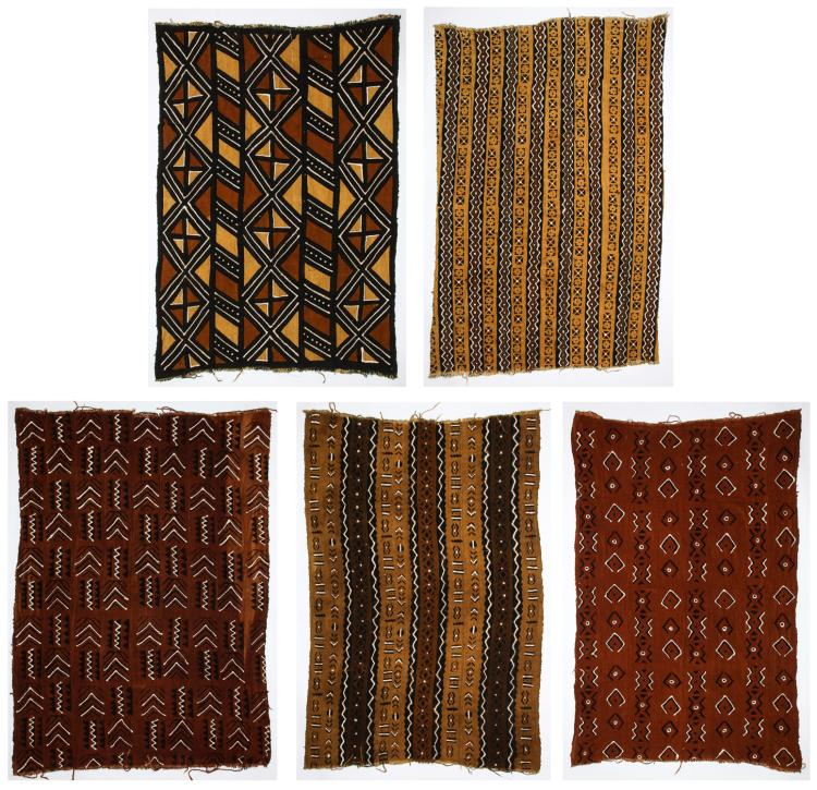 5 Vintage West African Mud Cloths