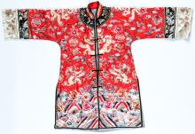 Antique Chinese Silk Embroidered Dragon Robe